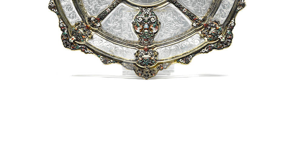 A fine Austrian 800 standard silver gilt, rock crystal and enamel dish<BR />Hermann Ratzersdorfer<BR />working Vienna 1843-1881
