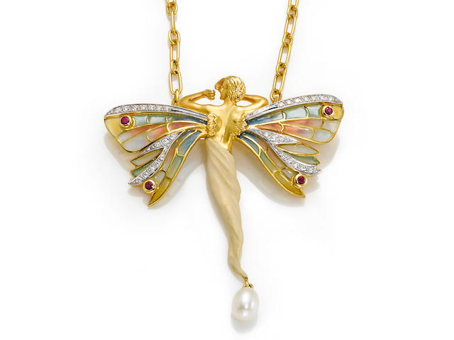 A plique-à-jour, enamel, diamond, ruby and cultured pearl winged woman pendant-brooch with chain, Masriera