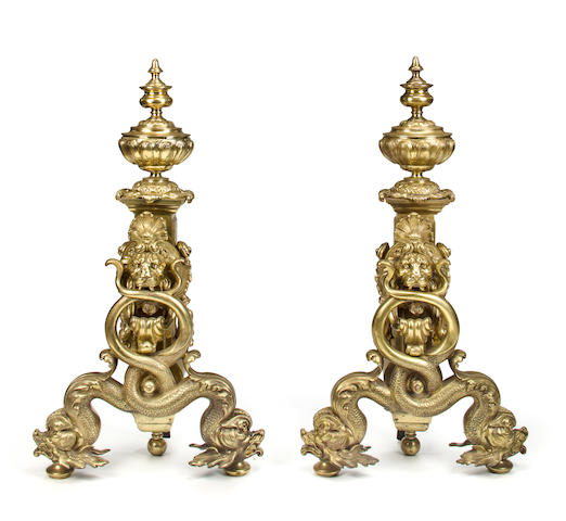 A pair of Continental gilt bronze and mixed metal andirons late 19th century