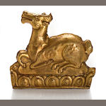 A gilt copper repousse plaque of a deer Tibet, 18th/19th century