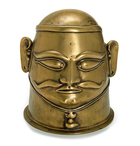 A brass mask of Khandoba Karnataka or Maharashtra, 17th/18th century
