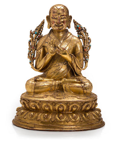 A gilt copper alloy portrait of a lama Tibet, 16th century