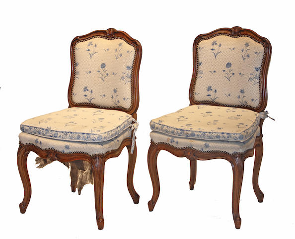 A set of six Louis XV style walnut side chairs mid 19th century