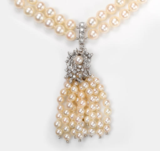 A cultured pearl and diamond double strand necklace with tassel pendant/enhancer