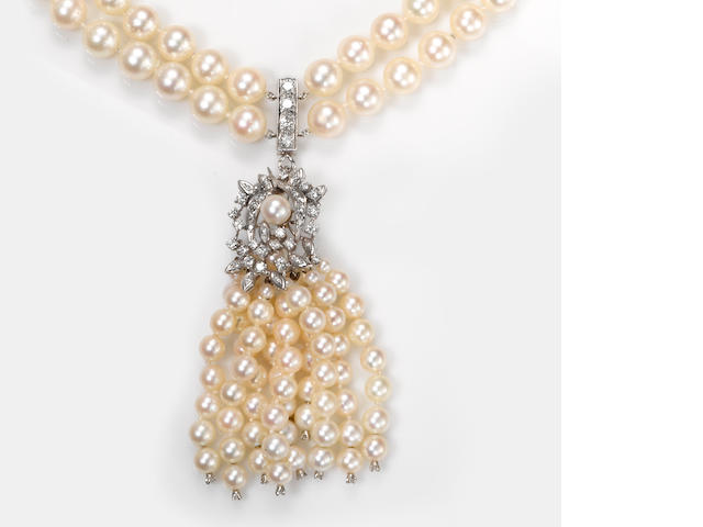 A cultured pearl and diamond double strand necklace with tassel pendant-enhancer