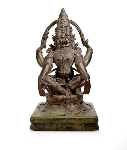 A copper alloy figure of Yoga-Narasimha Kerala or Kanataka, 15th/16th century
