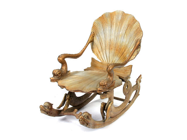 An Italian Grotto giltwood rocking chair