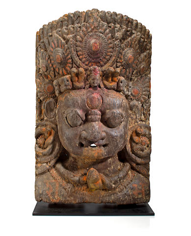 A wood Bhairava mask Nepal, 16th century