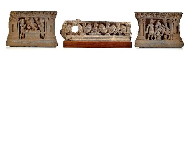 Three gray schist relief panels Gandhara, 3rd/4th century