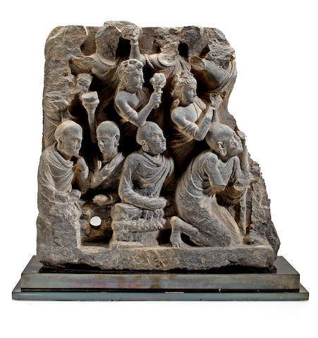 A gray schist relief fragment with ascetics Gandhara, 3rd/4th century