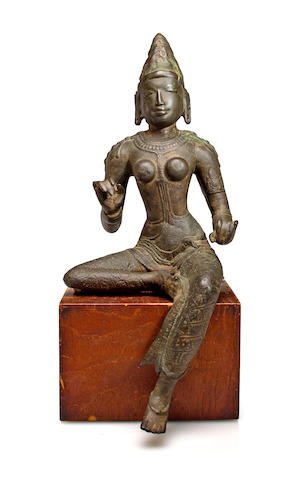 A copper alloy figure of Parvati  Tamil Nadu, Chola Dynasty, 11th century