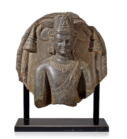 A black stone bust of Buddha Eastern India, Bihar, 11th century