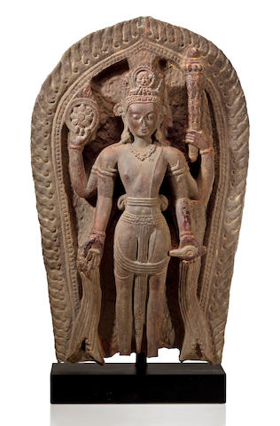 A gray chloritic schist stele of Vishnu as Shridara Nepal, 11th/12th century