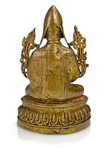 A gilt copper alloy figure of Tsong Khapa Tibet, 15th century