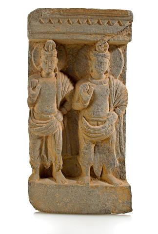 A gray schist relief panel of bodhisattvas Gandhara, 2nd./3rd century
