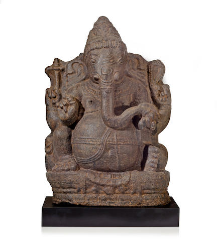 A granite figure of Ganesha South India 13th/14th century