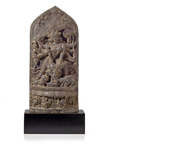 A black stone Durga Mahishasuramardini Northeast India, 12th century
