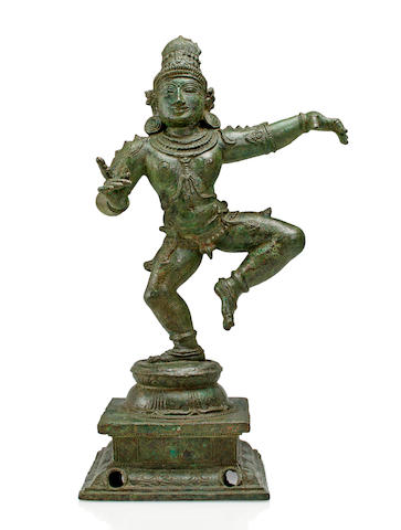 A copper alloy figure of Saint Sambandar Southern India, Chola period, 12th century