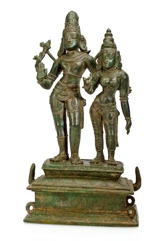 A copper alloy figure of Uma Maheshvara Tamil Nadu, 13th century