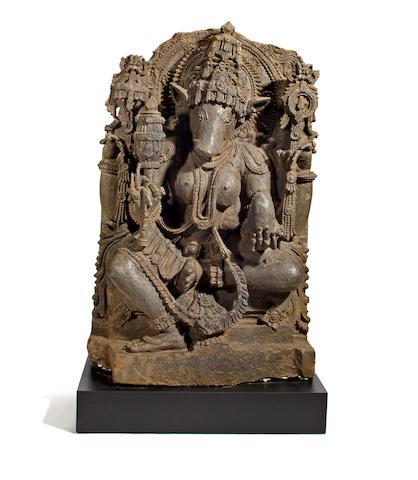 A gray chloritic schist figure of Varahi Karnataka, Hoysala period, 12th century