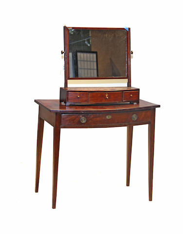 A George II oak and mahogany crossbanded dressing table