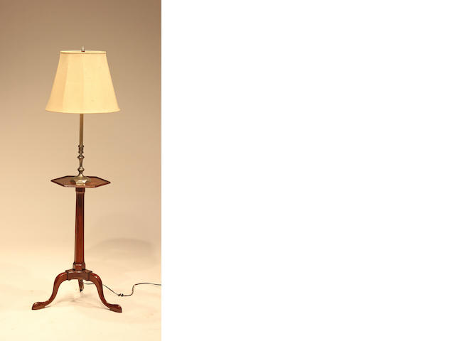 A George III style mahogany hexagonal top candle stand