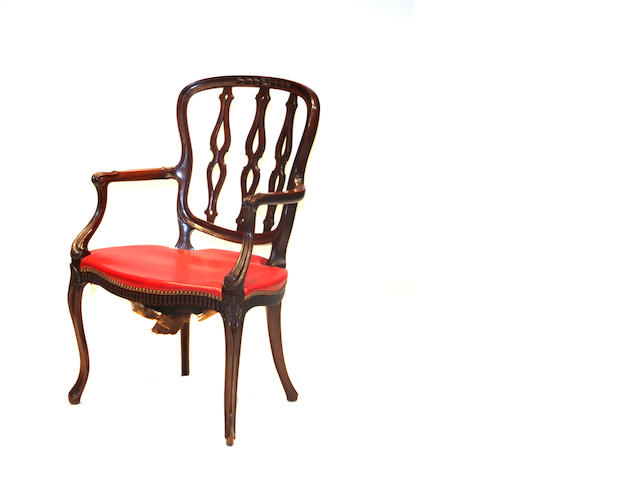 A George III style mahogany armchair late 19th century