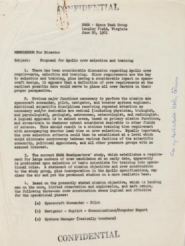 SCHIRRA'S SPACE TASK GROUP APOLLO CREW SELECTION MEMO.
