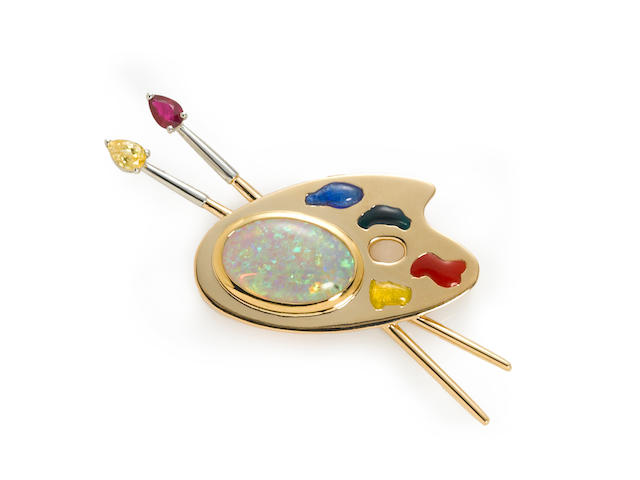 An opal, ruby, yellow sapphire and enamel painter's palette brooch