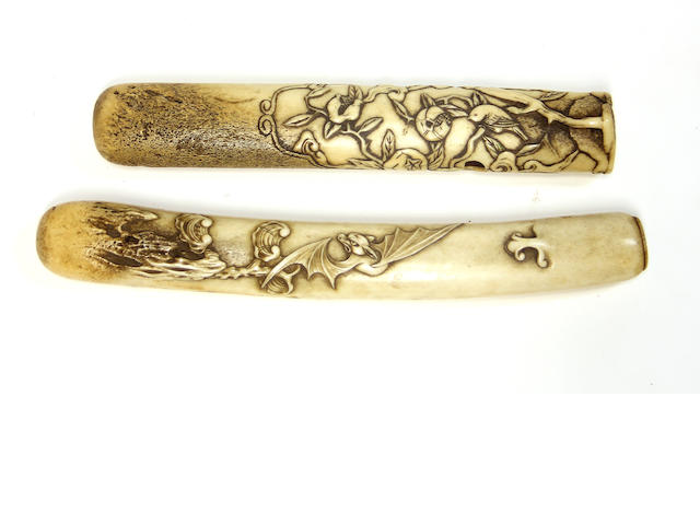 Two stag antler pipe cases (kiseruzutsu) Edo period