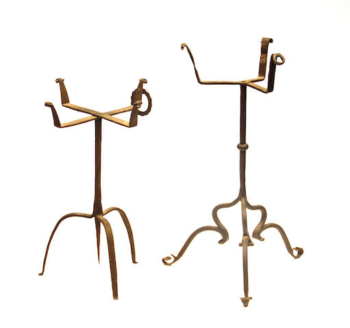 Two wrought iron brazier stands 17th/18th century