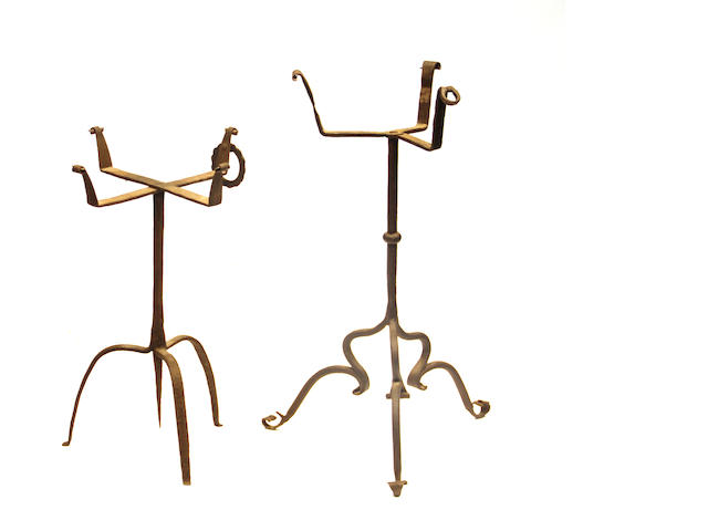 Two wrought iron jardinière stands late 17th/18th century