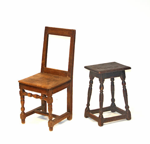 An English oak joint stool and an oak plank seat chair 17th/18th century
