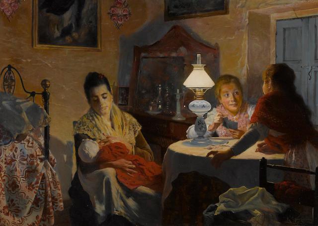 Ricardo Lopez Cabrera (Spanish, 1866-1950) En familia 22 3/4 x 31 3/4in (57.7 x 80.6cm)