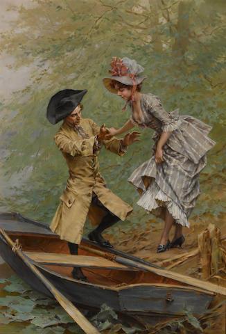 Frederik Hendrik Kaemmerer (Dutch, 1839-1902) The boating party 31 1/2 x 22in (80 x 56cm)