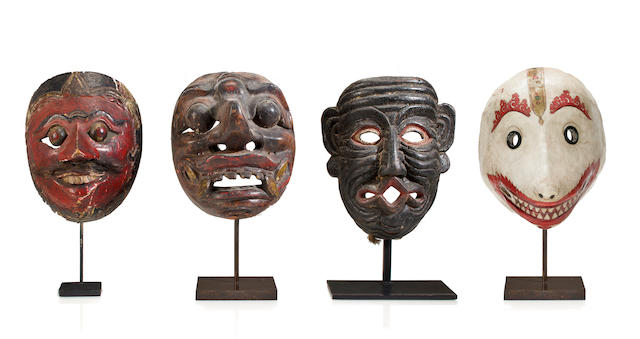 Four dance masks Java and Bali, 19th century