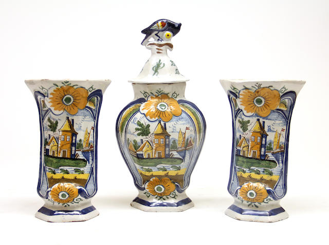 A Dutch Delft three piece mantel garniture 19th century