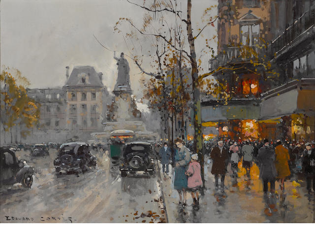 Edouard Léon Cortès (French, 1882-1969) Place de la Republique 13 x 18in (33 x 45.8cm)