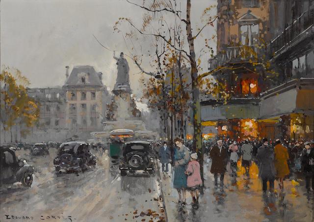 Edouard Léon Cortès (French, 1882-1969) Place de la Republique 13 x 18in (33 x 45.8cm)