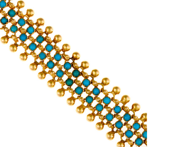 A turquoise and eighteen karat gold bracelet