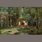 Elisabeth von Eicken (German, 1862-died circa 1938) A wooded landscape with a wagon and driver near a gate 15 x 22 1/2in (38.1 x 57.2cm) unframed