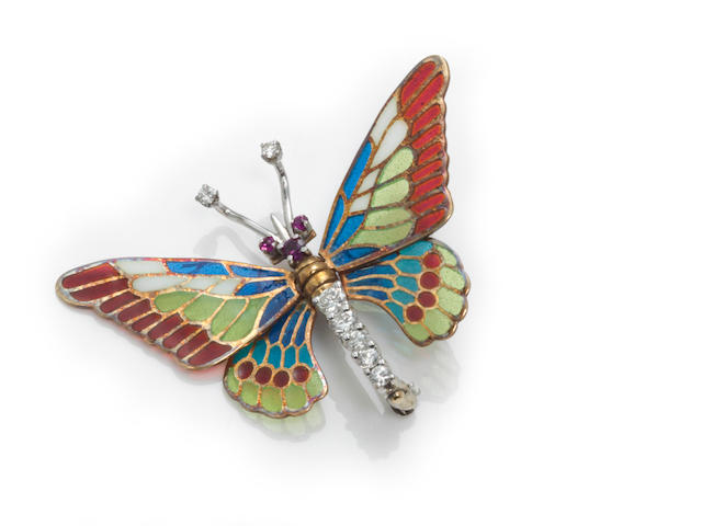 A plique-à-jour enamel, diamond and ruby articulated butterfly brooch, Martine