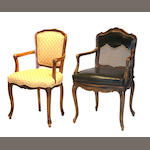 Two Louis XV style armchairs