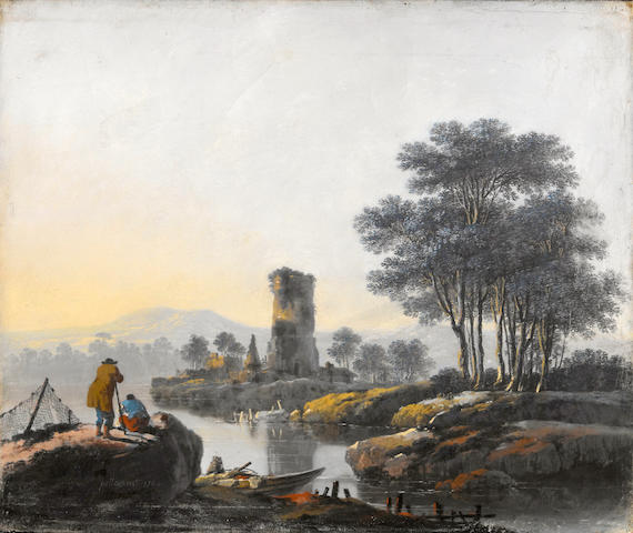 Jean-Baptiste Pillement (Lyons 1728-1808) A river landscape with figures on the bank and the ruins of a tower in the distance 13 1/2 x 16 1/4in (34.3 x 41.3cm)