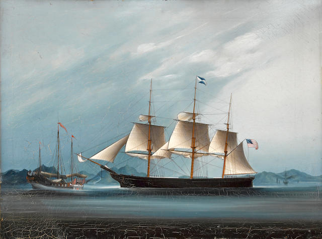 Anglo-Chinese School A clipper ship off the south China coast, thought to be the 'Oriental' 18 x 23 1/2in (45.7 x 59.7cm)
