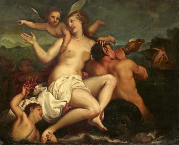 Attributed to Gregorio Lazzarini (Venice 1655-1730 Villabona) Galatea on a dolphin with tritons and putti 54 1/4 x 67in (137.8 x 170.2cm)