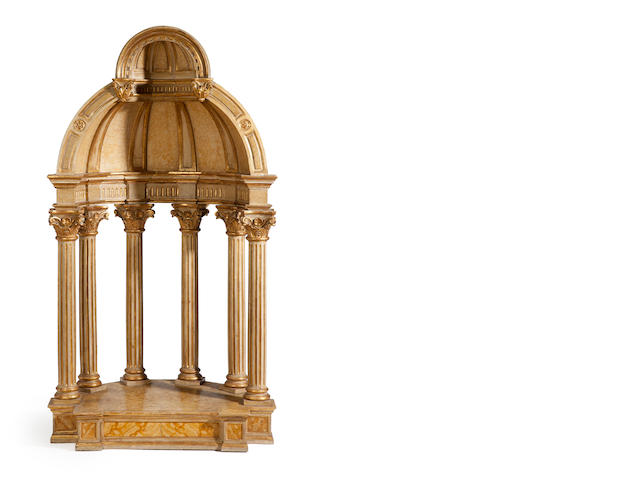 An Italian Baroque style parcel gilt and paint decorated tempietto maquette <BR />late 19th century