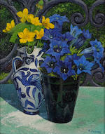 Pierre Jaques (Swiss, 1913-2000) Still life with violets in vases, 1962; Un pommier à Vesancy, 1967 (2) first 10 3/4 x 8 3/4in; second 21 1/4 x 29in