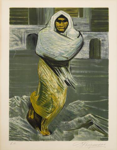 David Alfaro Siqueiros (Mexican, 1896-1974); Mujer en la cárcel; Sin título; from Prison Fantasies Portfolios I and II; (2)