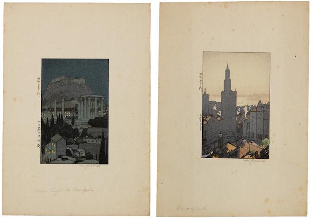 Yoshida Hiroshi (1876-1950) Eight woodcuts